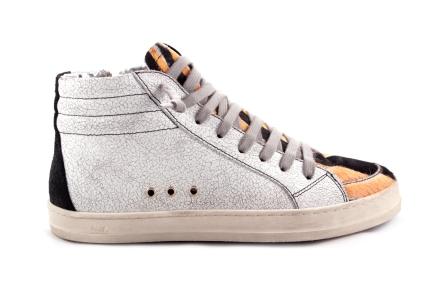 Sneaker Wit Zwart Hoog Oranje Tip