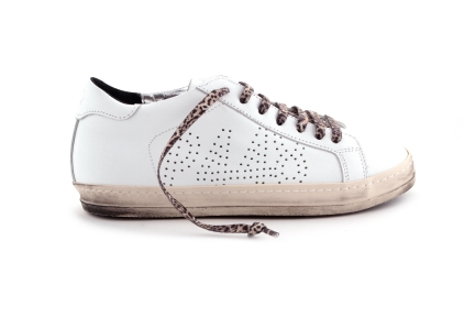 Sneaker Wit leopard veter