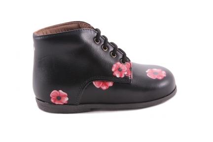 Veterschoen Zwart Roze Bloemen