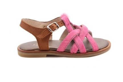 Sandaal Multibandjes Vooraan Roze Haartjes En Cognac