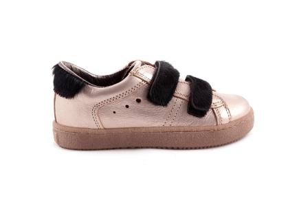 Sneaker Velcro Pels Zwart Laag Metallic Rose