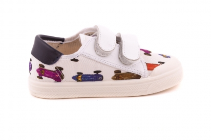 Sneaker 2 Witte Velcro Racewagen