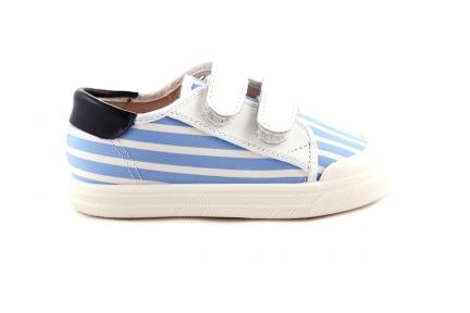 Sneaker Blauw-witte Strepen Witte Velcro
