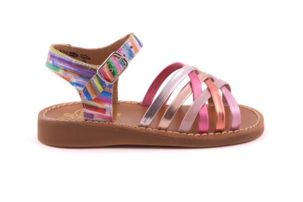 Sandaal Roze Multibandjes Vooraan Achteraan Multicolor