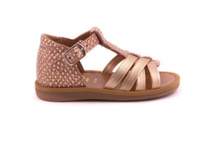 Sandaal Gouden Bandjes Vooraan  Roze Slang Achteraan