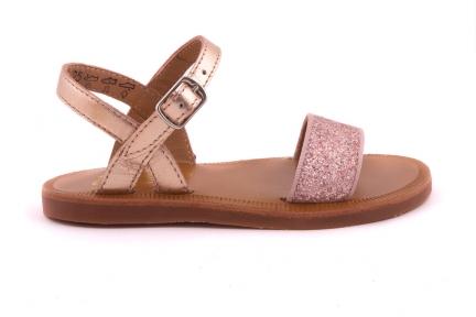 Sandaal Bandje Vooraan Roze Glitter Roze Metallic Achteraan