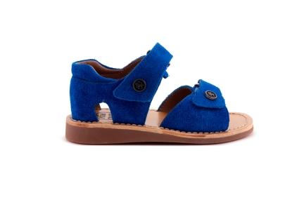 Sandaal Blauw Daim Gesloten Hiel