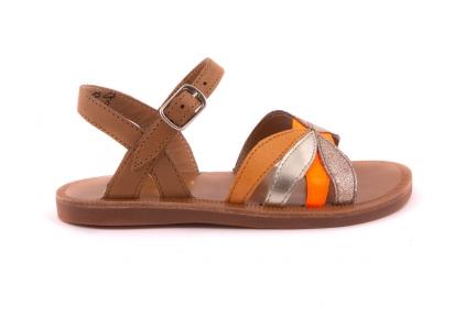 Sandaal Bloemvorm Vooraan  Cogna En Fluo Oranje