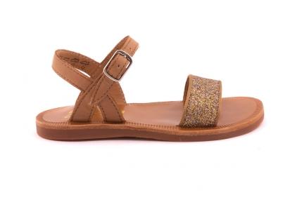 Sandaal Bandje Vooraan Brons Glitter Cognac Achteraan
