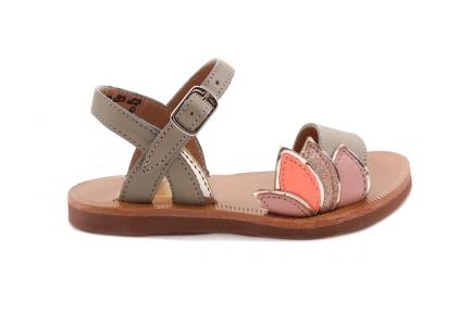 Sandaal Blaadjes Kaki Leder