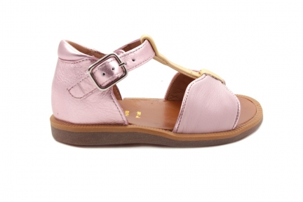 Sandaal T-model Roze En Geel