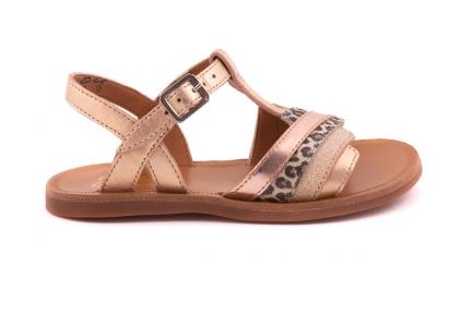 Sandaal Groot Zigzag Vooraan Koper En Leopard