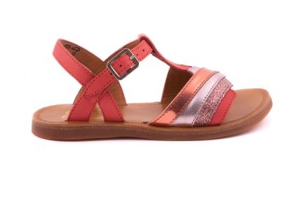 Sandaal Groot Zigzag Vooraan Koraal En Glitter