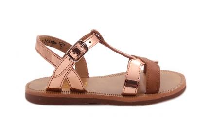 Sandaal T-model Kruis Rose Metalllic