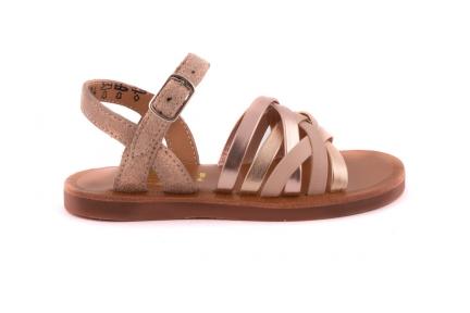 Sandaal Multibandjes Roze Metallic En Leder