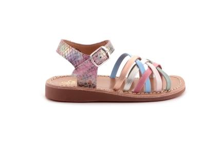 Sandaal Multi Roze Blauw Mint Bredere Zool