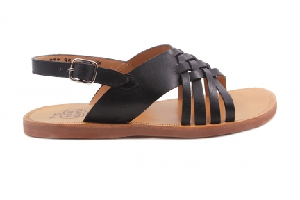 Sandaal Tresse Zwart Leder