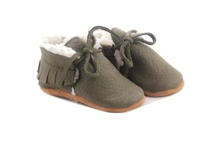 Puriy babyschoentje veter kaki wol
