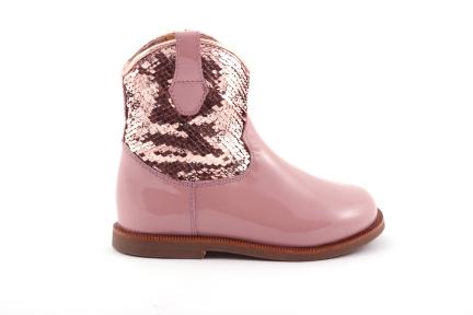 laars cowboy in lak roze en paillettes
