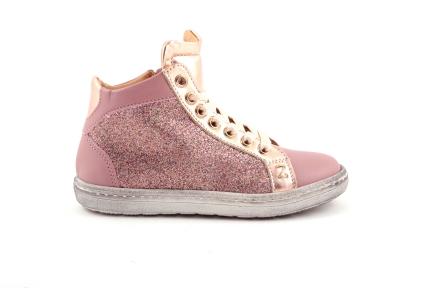 sneaker in roze leder met glitter roze en goud