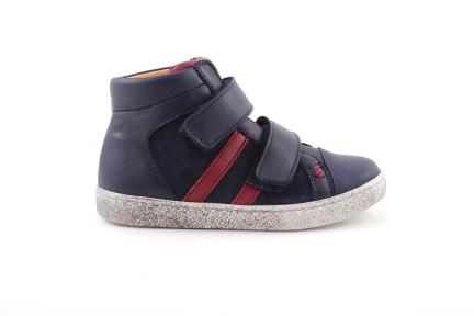 sneaker velcro in blauw en bordeaux met rubber tip