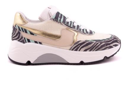 Sneaker Zebra Met Mint En Badstof Runner