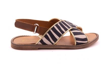 Sandaal Cognac Achteraan Gekruist zebra