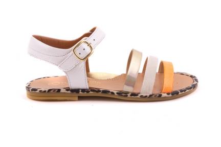 Sandaal Bandjes Vooraan Oranje/goud/wit Open Hiel
