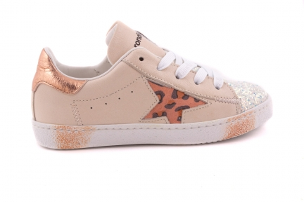 Sneaker Groot Beige Leder En Koper Metallic En Ster Glitter Tip