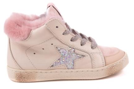 Sneaker Groot Beige Roze Tip Roze Pels Glitterster