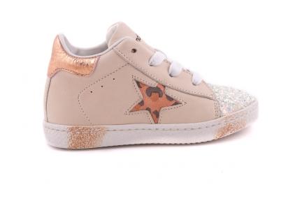 sneaker klein beige glittertip ster opzij