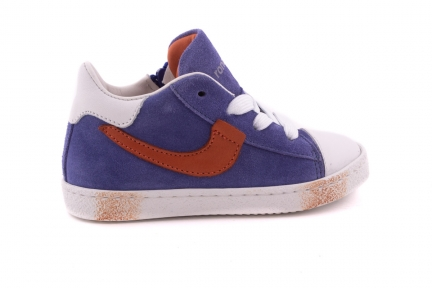 Sneaker Blauwe Crosta Met Bruin Detail Rubber Tip En Veter