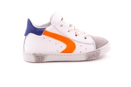Sneaker Wit Leder En Oranje Accent Wit/oranje Veter