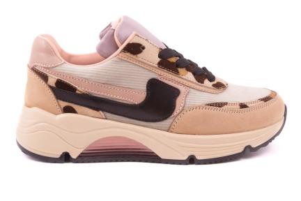 Sneaker Groot Runner Bruin Velours Leopard