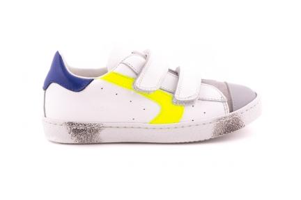 Sneaker Rubber Tip Geel En Blauw Accent Velcro