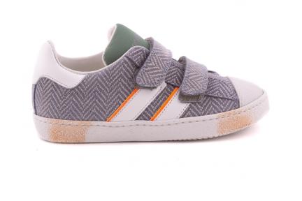 Sneaker Grijs Jeans Met 2 Strepen Velcro