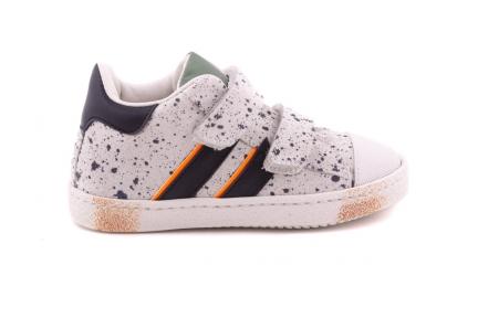 Sneaker Wit Gespikkeld Met 2 Strepen Velcro Met Rubber Tip