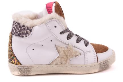 Sneaker Groot Wit Met Bruin Tip Wolster