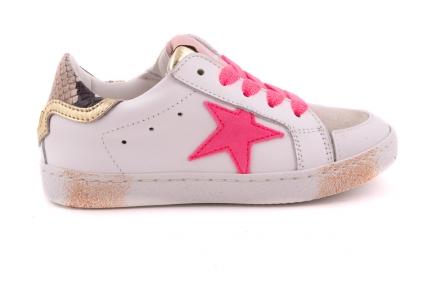 Sneaker Wit Leder Met Roze Ster Roze Glitter Veter