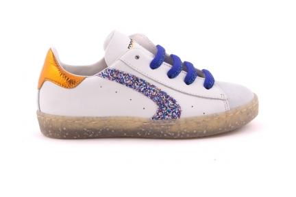 Sneaker Veter En Rits Witte Crosta Tip Met Glitter Detail Blauwe Glitterveter