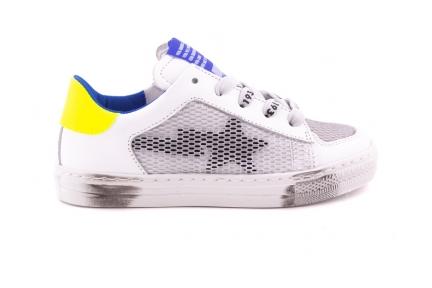 Sneaker Gekarteld Wit Geel En Blauw