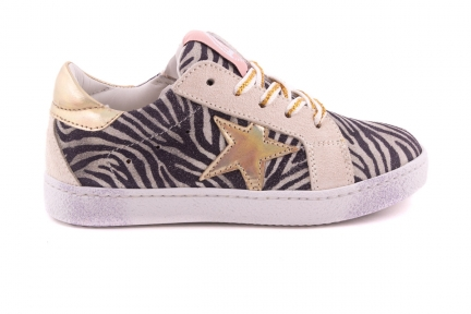 Sneaker Zebra En Gouden Ster Gouden Veter