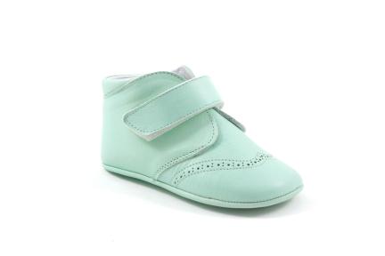pantoffel velcro mint leder