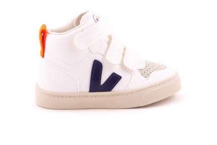 Sneaker Hoog Perforaties Vooraan Wit Blauw Accent