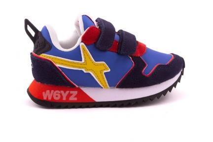 Sneaker Blauw En rood Met Geel Accent Velcro