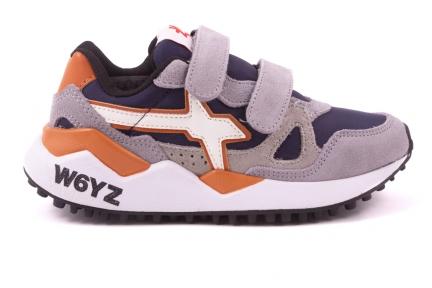 W6YZ sneaker velcro grijs-blauw-oranje