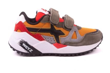 Sneaker Velcro Oker/kaki/rood