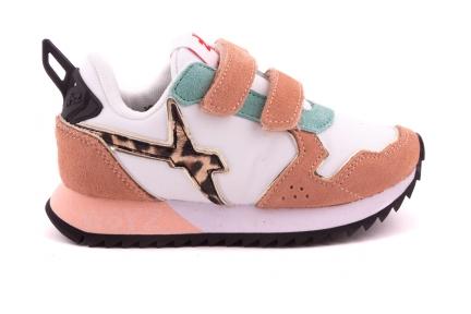 w6yz sneaker velcro roze mint leopard