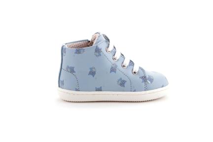 Sneaker blauw met print uiltjes met tip blauw