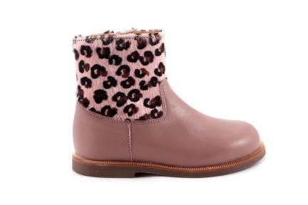 Laars Roze Leder Met Leopard Halfhoog